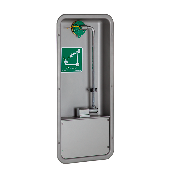 Haws 7655WCC, Barrier-Free, Wall-Mounted Recessed Stainless Steel Cabinet, Pull Down Eye/Face Wash with AXION MSR Eye/Face Wash Head, Emergency Equipment