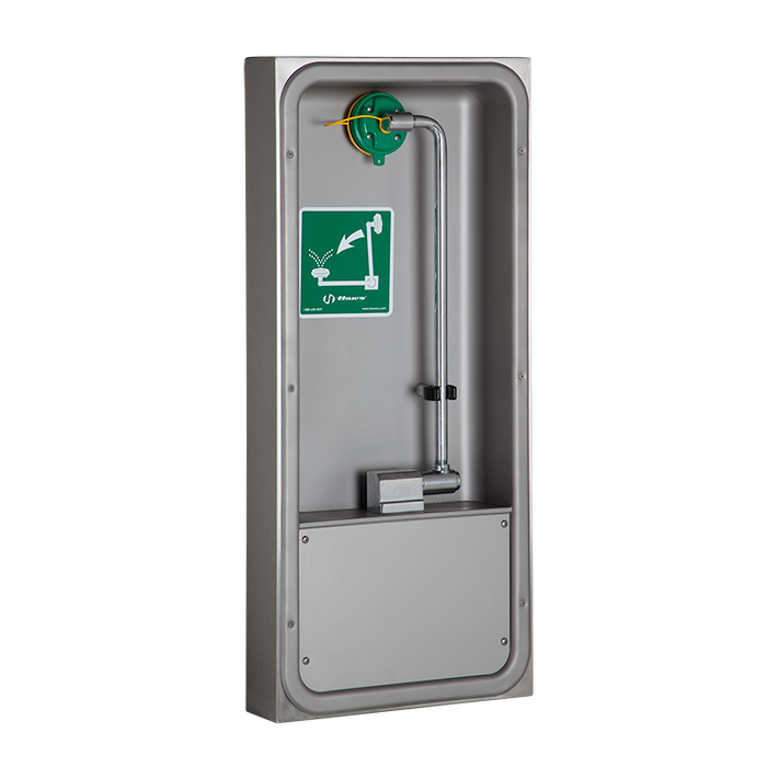Haws 7655WCSM, wheelchair accessible surface mounted pull down eye/face wash with AXION MSR eye/face wash head, in a stainless steel cabinet