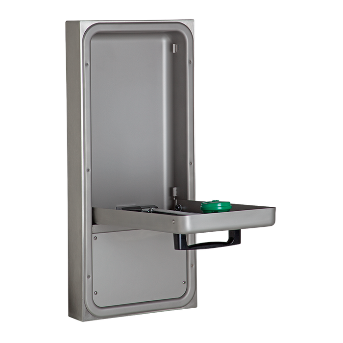Haws 7656WCSM, wheelchair accessible surface mounted pull down eye/face wash with AXION MSR eye/face wash head, in a stainless steel cabinet with a drain pan