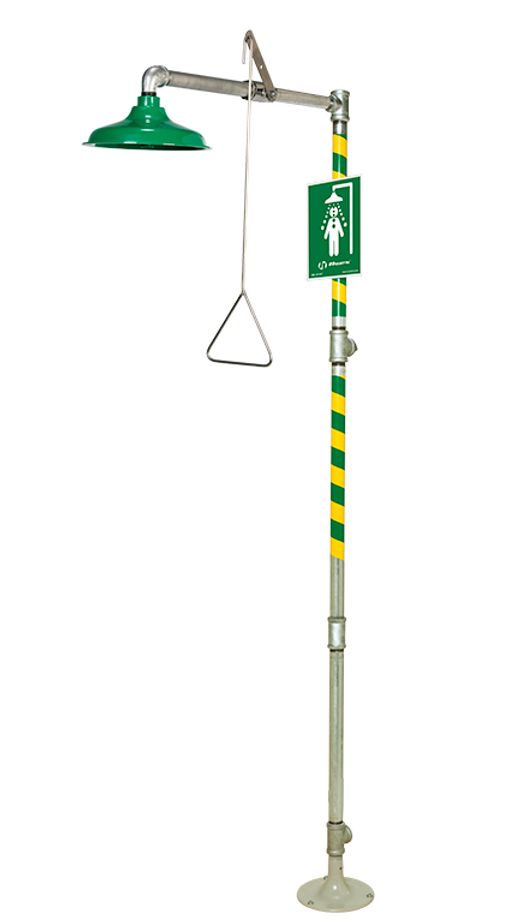 Haws 8100, Floor Mounted, Drench Shower with AXION MSR ABS Plastic Showerhead, Emergency Equipment