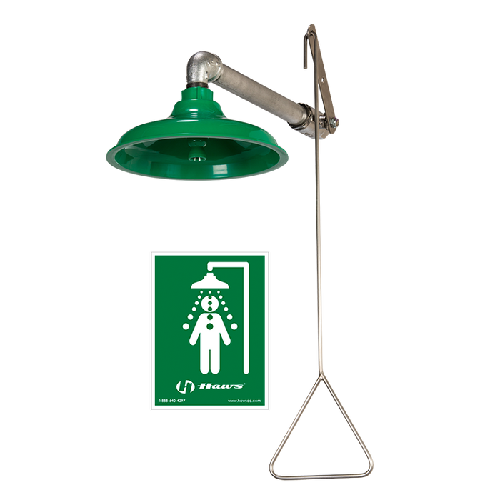 Haws 8122, Horizontal or Vertical Mount Drench Shower with AXION MSR ABS Plastic Showerhead, Emergency Equipment