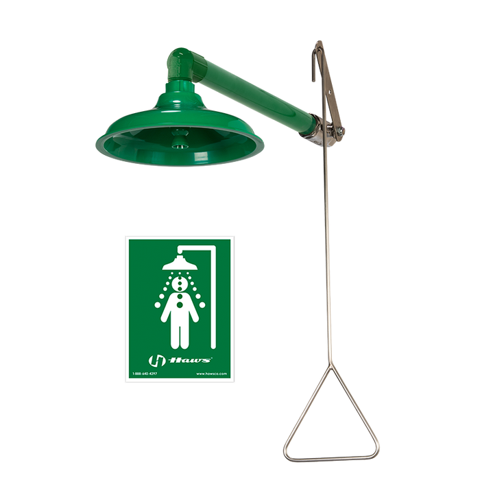 Haws 8130, Corrosion-Resistant, Stainless Steel, Horizontal or Vertical Mount Drench Shower with AXION MSR Showerhead, Emergency Equipment