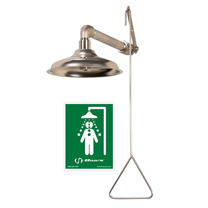 Haws 8133H, Corrosion-Resistant, Horizontal Mount Drench Shower with AXION MSR Stainless Steel Showerhead, Emergency Equipment