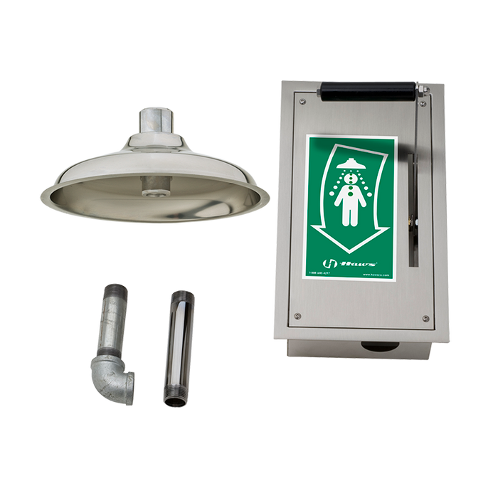 Haws 8164, Ceiling-Mounted Drench Shower with Recessed Stainless Steel Cabinet and AXION MSR Polished Stainless Steel Showerhead, Emergency Equipment