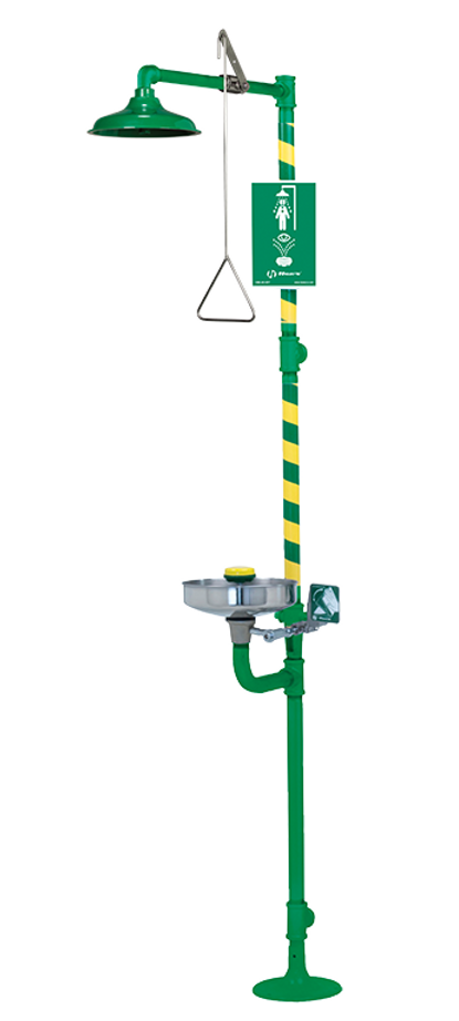 Haws 8300CRP-8309CRP, Corrosion-Resistant, Combination Shower and Eye/Face Wash with AXION MSR Eye/Face Wash and Showerhead, Emergency Equipment