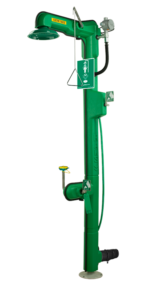 Haws 8317CTFP, Freeze-Resistant, 120 VAC, Cable Heated, Combination Shower and Eye/Face Wash, Top or Bottom Supply, AXION MSR Eye/Face Wash and Showerhead, Emergency Equipment
