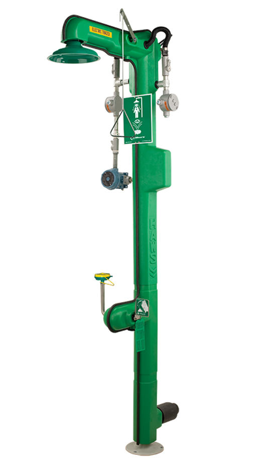 Haws 8317CTFPC1D1, Freeze-Resistant, 120 VAC, Cable Heated, Combination Shower and Eye/Face Wash, Top or Bottom Supply, Rated for C1D1 Applications with AXION MSR Eye/Face Wash and Showerhead, Emergency Equipment