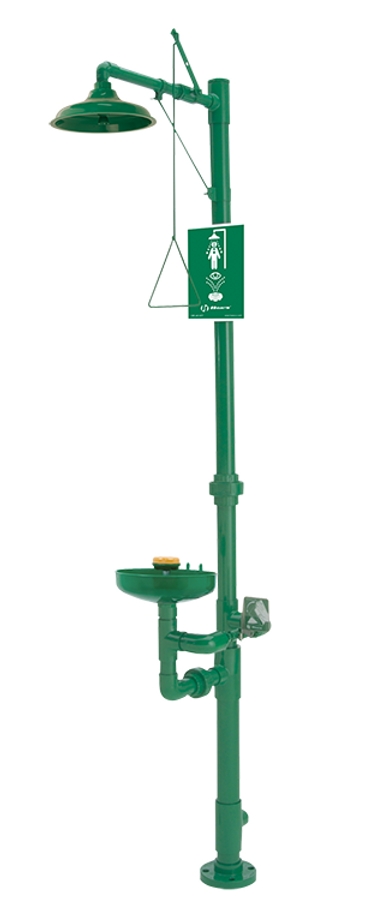 Haws 8336, Corrosion-Resistant, PVC Plastic, Combination Shower and Eye/Face Wash with AXION MSR Eye/Face Wash and Showerhead and Green Epoxy Coating, Emergency Equipment
