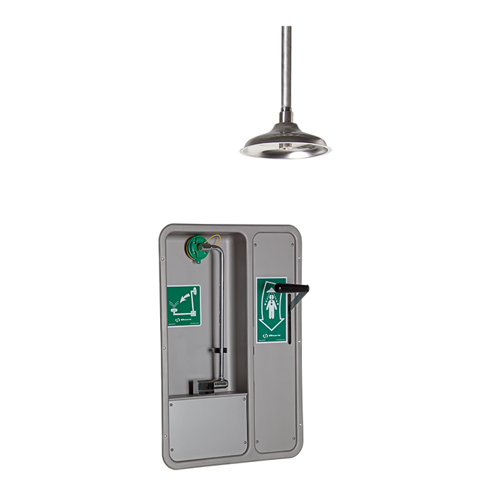 Haws 8355WCC, Barrier-Free, Wall-Mounted, Recessed, Combination Shower and Eye/Face Wash with AXION MSR Eye/Face Wash Head and Ceiling-Mounted Showerhead, Emergency Equipment