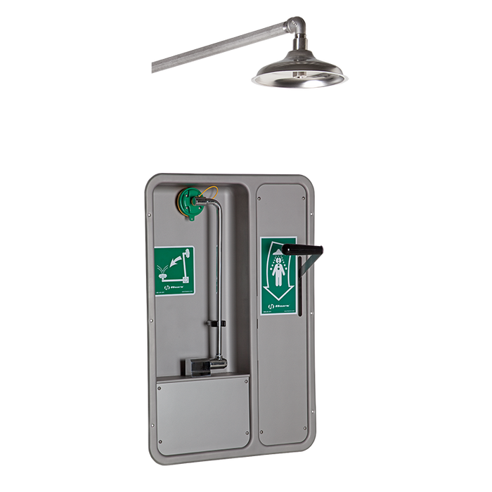 Haws 8355WCW, Barrier-Free, Wall-Mounted, Recessed, Combination Eye/Face Wash with AXION MSR Eye/Face Wash Head and Wall-Mounted Showerhead, Emergency Equipment