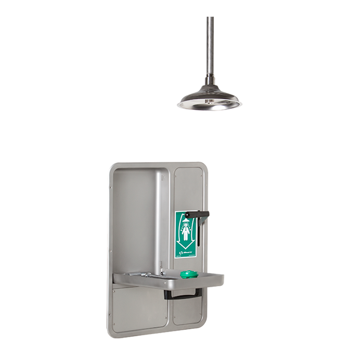 Haws 8356WCC, Barrier-Free, Wall-Mounted, Recessed, Combination Shower and Eye/Face Wash with AXION MSR Eye/Face Wash, Ceiling-Mounted Showerhead with a Drain Pan, Emergency Equipment