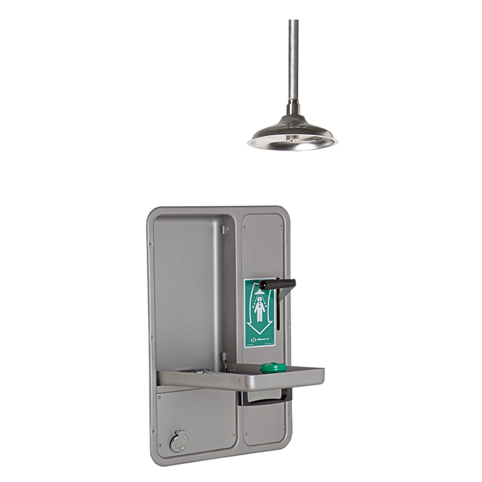 Haws 8356WCDD, Barrier-Free, Wall-Mounted, Recessed, Combination Shower and Eye/Face Wash with AXION MSR Eye/Face Wash Head, Ceiling-Mounted Showerhead with a Drain Pan and Daylight Drain, Emergency Equipment