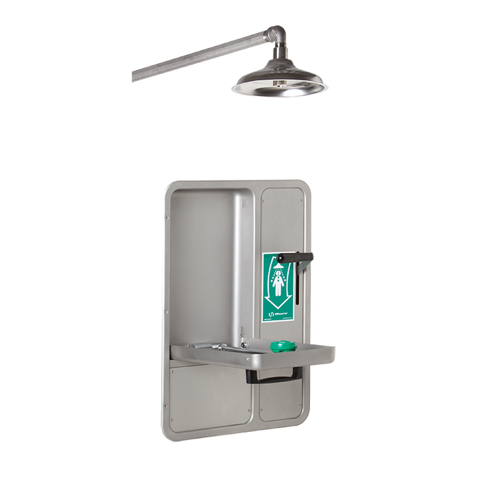 Haws 8356WCW, Barrier-Free, Wall-Mounted, Recessed, Combination Shower and Eye/Face Wash with AXION MSR Eye/Face Wash Head, Wall-Mounted Showerhead with a Drain Pan, Emergency Equipment