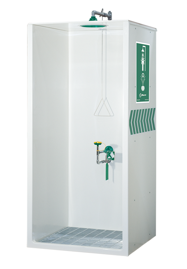 Haws 8605WC, Barrier-Free, Booth Enclosed, Combination Shower and Eye/Face Wash with AXION MSR Eye/Face Wash and Shower Head, Emergency Equipment