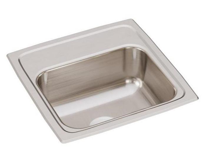 "Elkay BLR1560 Lustertone Classic Stainless Steel 15"" x 15"" x 6-1/8"", Single Bowl Drop-in Bar Sink, ADA Compliant, 2"" Drain Opening"