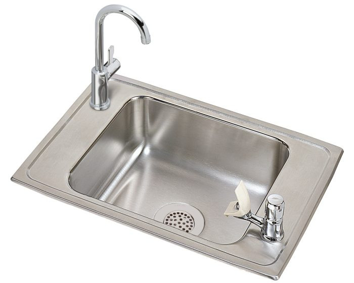 """Elkay CDKRC2517VRC Celebrity Stainless Steel 25"""" x 17"""" x 6-7/8"""", 2-Hole Single Bowl Drop-in Classroom Sink and Faucet with Vandal-resistant Bubbler Kit"""