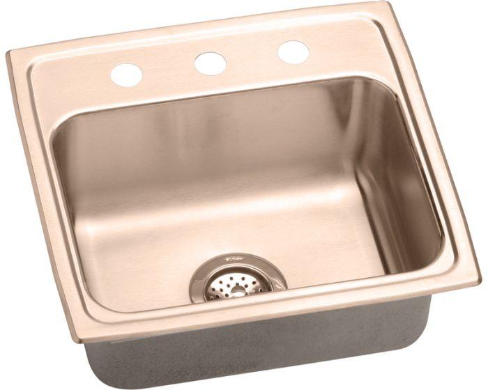 "Elkay DLR191910-CU CuVerro Antimicrobial Copper 19-1/2"" x 19"" x 10-1/8"", Single Bowl Drop-in Sink"