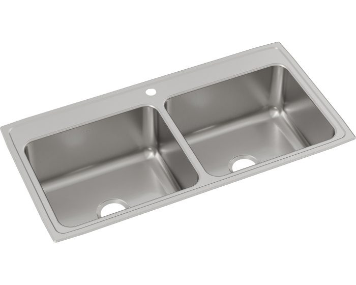"""Elkay DLR432210 Lustertone Classic Stainless Steel 43"""" x 22"""" x 10-1/8"""", Equal Double Bowl Drop-in Sink"""