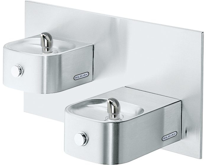 Elkay EDFP217FPK Soft Sides Bi-Level Fountain, Non-Filtered, Non-Refrigerated, Freeze Resistant, Stainless Steel