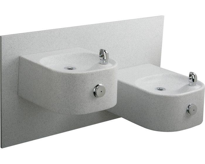 Elkay EDFPVR217RFPK Drinking Fountain, Soft Sides, Vandal-Resistant Bubbler, Freeze-Resistant, Bi-Level, White Granite, Non-Refrigerated