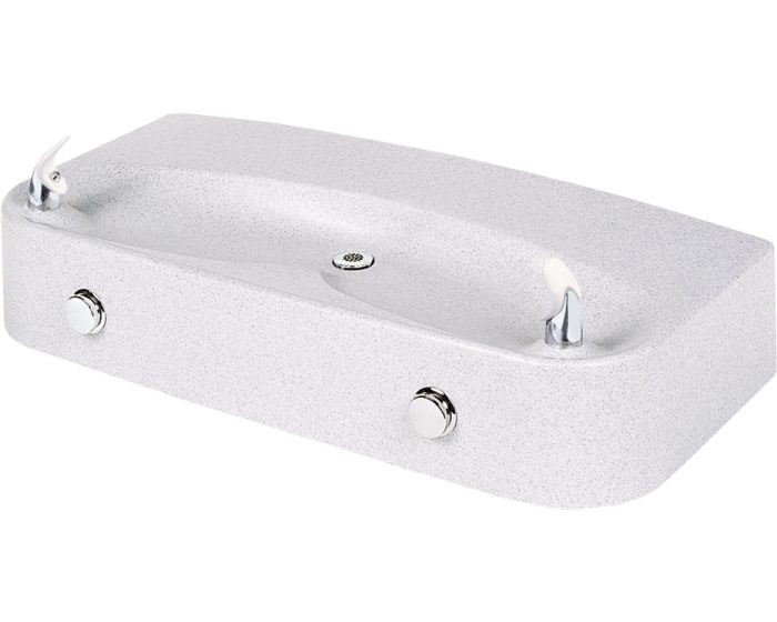 Elkay EDFPVR220RC Drinking Fountain, Soft Sides, Vandal-Resistant Bubbler, Dual Station, White Granite, Non-Refrigerated