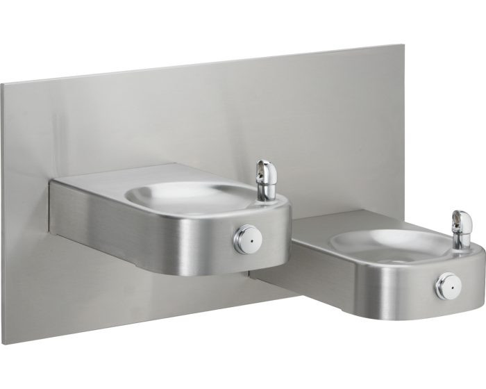 Elkay EHWM17C Slimline Soft Sides Heavy Duty Bi-Level Fountain, Non-Filtered, Non-Refrigerated, Stainless Steel