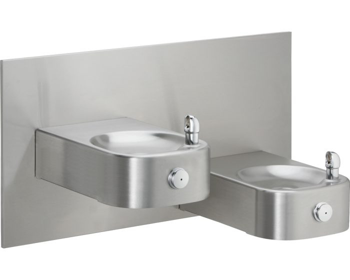 Elkay EHWM217FPRAK Drinking Fountain, Reversed Bi-Level, Soft Sides, Freeze-Resistant,  Heavy Duty, ADA, Includes Wall Plate and Surface Mounting Plate, (Non-Refrigerated)