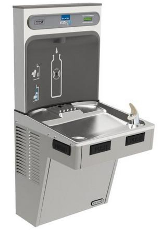 Elkay EMABF8WSLK EZH2O Bottle Filling Station with Single Mechanically-Activated Refrigerated Drinking Fountain, 8.0 GPH Water Cooler, ADA, Light Gray Granite
