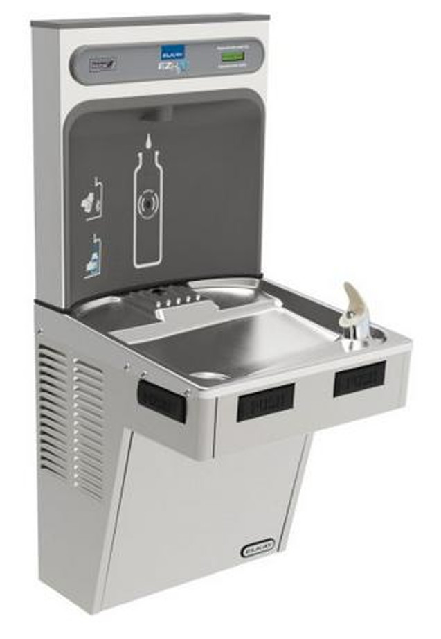 Elkay EMABF8WSSK EZH2O Bottle Filling Station with Single Mechanically-Activated Drinking Fountain, 8.0 GPH Water Cooler, ADA, Stainless Steel
