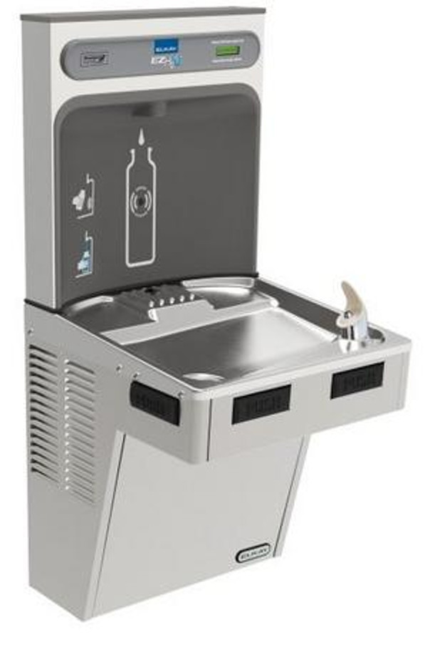 Elkay EMABFDWSSK EZH2O Bottle Filling Station with Single Mechanically-Activated Drinking Fountain, ADA, Stainless Steel, (Non-Refrigerated)