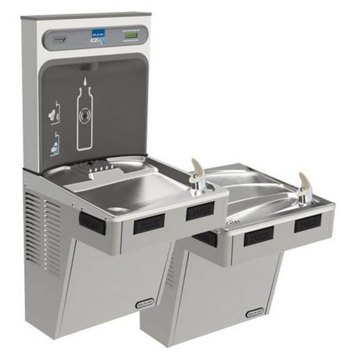 Elkay EMABFTL8WSLK EZH2O Bottle Filling Station with Bi-Level Mechanically-Activated Refrigerated Drinking Fountain, 8.0 GPH Water Cooler, ADA, Light Gray Granite