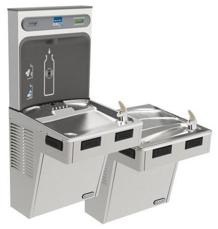 Elkay EMABFTL8WSSK EZH2O Bottle Filling Station with Bi-Level Mechanically-Activated Refrigerated Drinking Fountain, 8.0 GPH Water Cooler, ADA, Stainless Steel