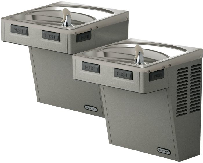 Elkay EMABFTLDDLC Drinking Fountain, Bi-Level, Mechanically-Activated, ADA, Non-Filtered, Non-Refrigerated, Light Gray Granite