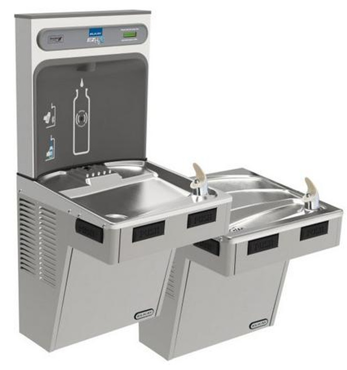 Elkay EMABFTLDDWSLK EZH2O Bottle Filling Station with Bi-Level Mechanically-Activated Drinking Fountain, ADA, Light Gray Granite, (Non-Refrigerated)