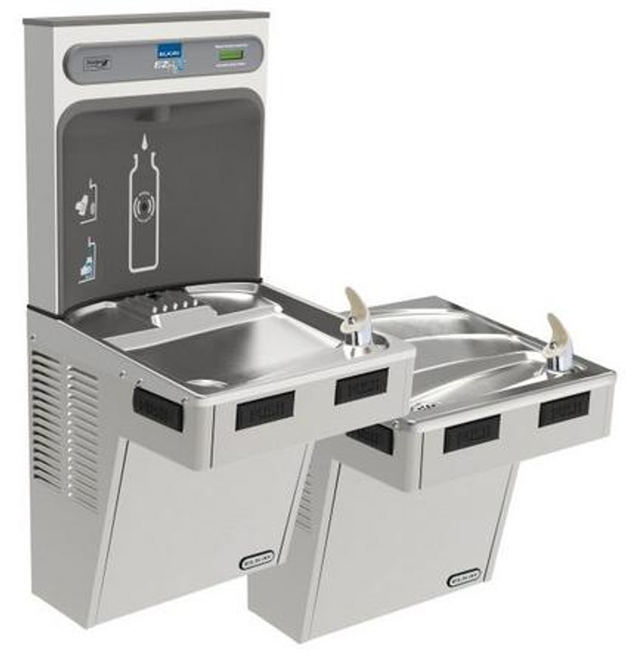 Elkay EMABFTLDDWSSK EZH2O Bottle Filling Station with Bi-Level Mechanically-Activated Drinking Fountain, ADA, Stainless Steel, (Non-Refrigerated)