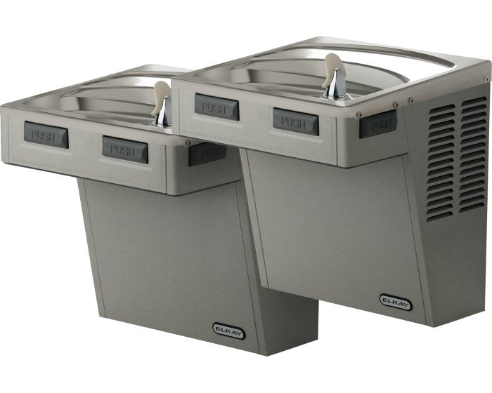 Elkay EMABFTLR8SC Refrigerated Drinking Fountain, Reversed Bi-Level, Mechanically-Activated, 8.0 GPH Water Cooler, ADA, Stainless Steel