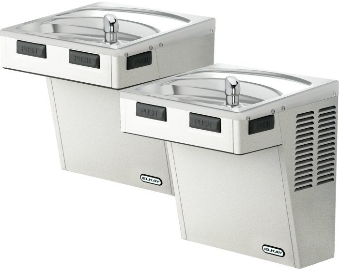 Elkay EMABFTLVR8SC Refrigerated Drinking Fountain, Bi-Level, Mechanically-Activated, 8.0 GPH Water Cooler, Vandal-Resistant Bubbler, ADA, Stainless Steel