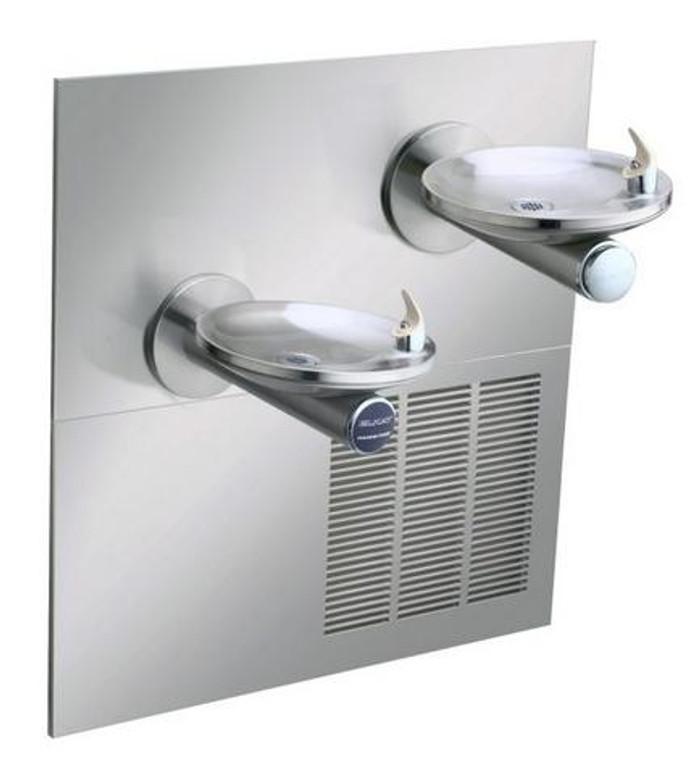 Elkay ENOBM28RAK Refrigerated Drinking Fountain, Reversed Bi-Level, Sensor-Operated, SwirlFlo, 8.0 GPH Water Cooler, ADA, Includes Mounting Frame