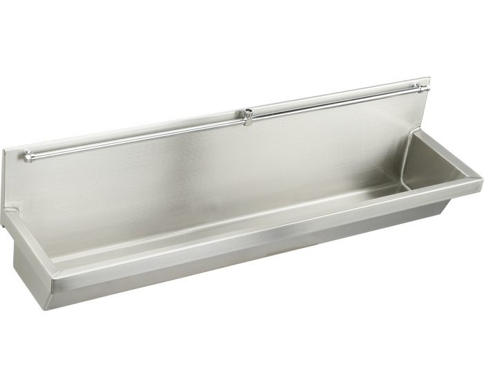 """Elkay EU4814C Multiple Station Trough Urinal with Exposed Flush Pipe, Wall Mounted, Stainless Steel, 48"""" x 14"""" x 8"""""""