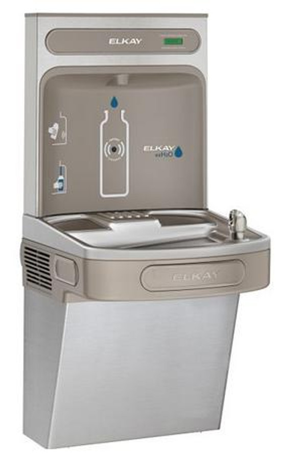 Elkay EZS8WSVRSK EZH2O Bottle Filling Station with Single EZ Refrigerated Drinking Fountain, Vandal-Resistant Bubbler, 8.0 GPH, ADA, Stainless Steel