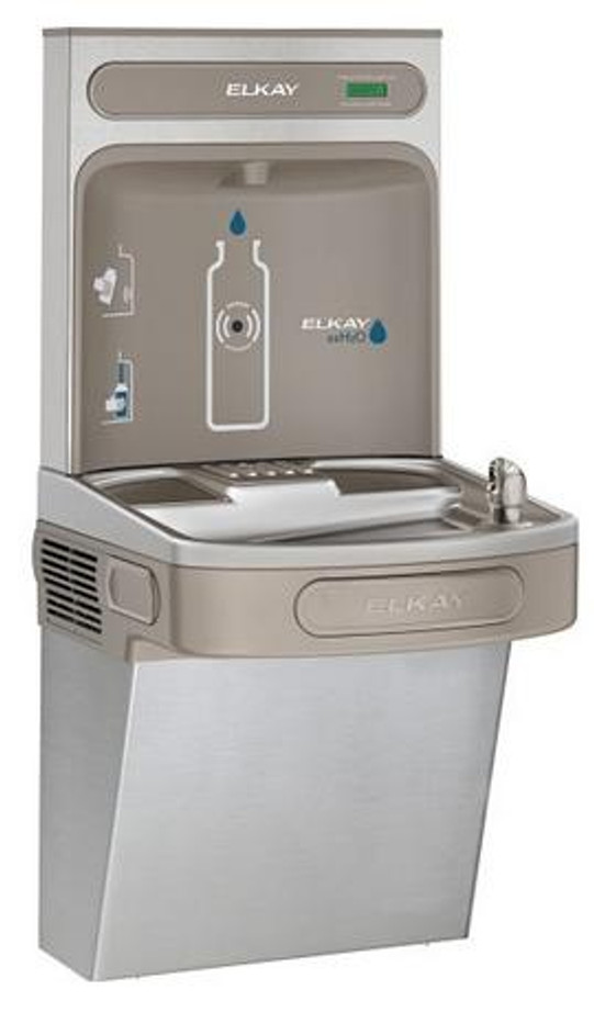 Elkay EZSDWSVRSK EZH2O Bottle Filling Station with Single EZ Drinking Fountain, Vandal-Resistant Bubbler, ADA, Stainless Steel, (Non-Refrigerated)
