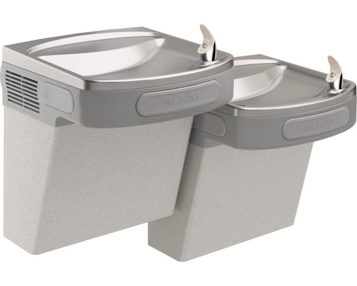 Elkay EZSTL8LFC Refrigerated Drinking Fountain, Versatile Wall Mount Bi-Level, 8.0 GPH Water Cooler, ADA, Glass Filler Prepped, Light Gray Granite