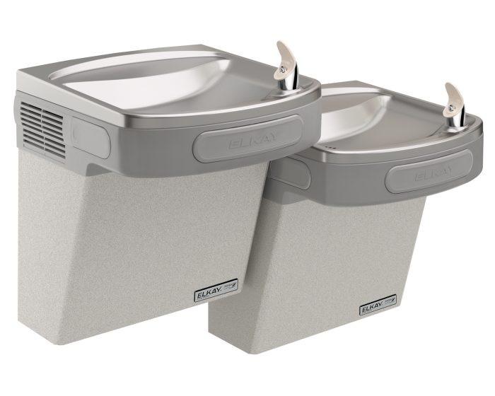 Elkay EZSTLG8LC Refrigerated Drinking Fountain, High Efficiency, GreenSpec Listed, Bi-Level, 8.0 GPH Water Cooler, ADA, Light Gray Granite
