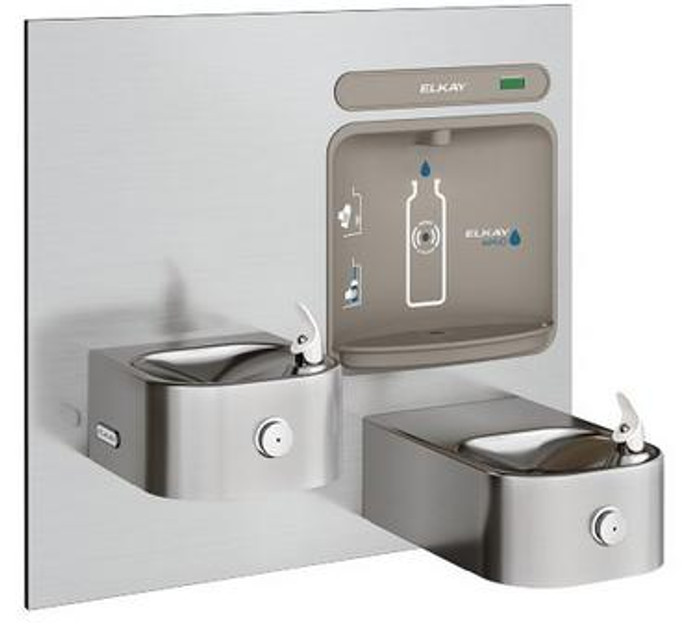 Elkay EZWS-EDFP217K EZH2O Bottle Filling Station with Soft Sides Drinking Fountain, Bi-Level, ADA, GreenSpec Listed, (Non-Refrigerated)
