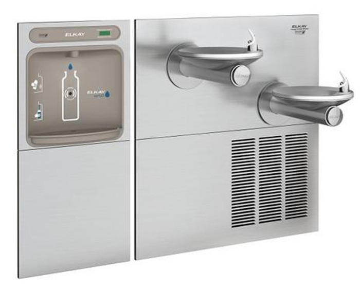 Elkay EZWS-SFGRN28K EZH2O Bottle Filling Station with High-Efficiency ECH8GRN Chiller and SwirlFlo GRN Drinking Fountain, Bi-Level, GreenSpec Listed, 8.0 GPH, ADA, Refrigerated