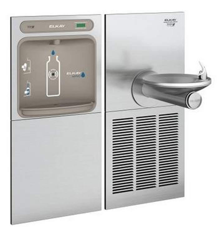 Elkay EZWS-SFGRN8K EZH2O Bottle Filling Station with High-Efficiency ECH8GRN Chiller and SwirlFlo GRN Drinking Fountain, GreenSpec Listed, 8.0 GPH, ADA, Refrigerated