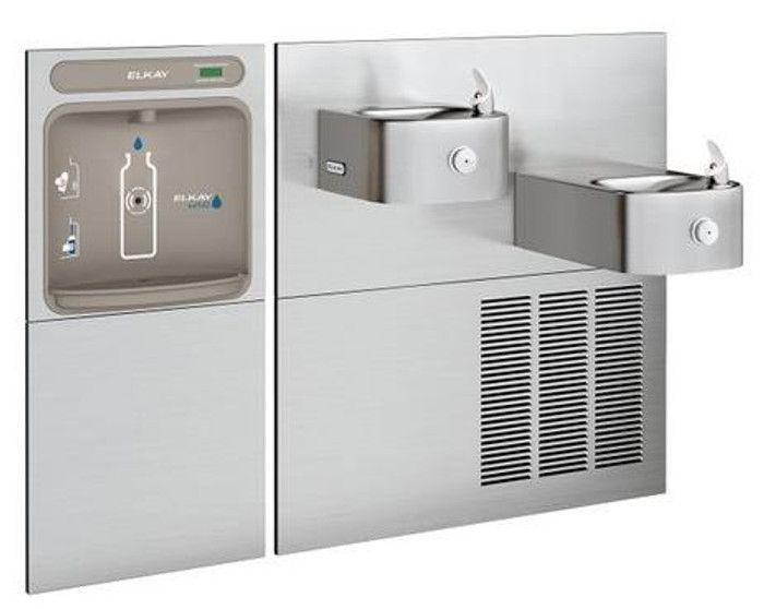 Elkay EZWS-SS28K EZH2O Bottle Filling Station with Soft Sides Drinking Fountain, Bi-Level, GreenSpec Listed, 8.0 GPH, ADA, Refrigerated