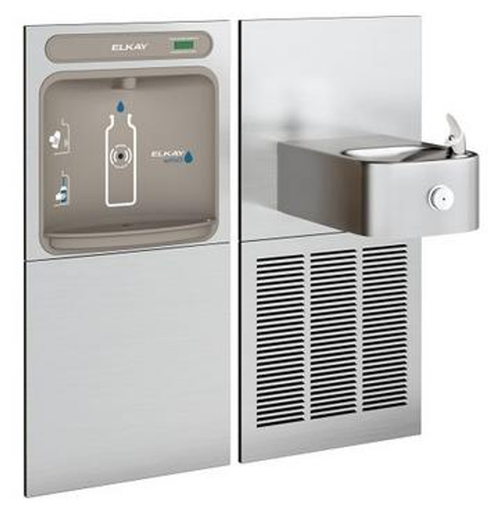 Elkay EZWS-SS8K EZH2O Bottle Filling Station with Soft Sides Drinking Fountain, GreenSpec Listed, 8.0 GPH, ADA, Refrigerated