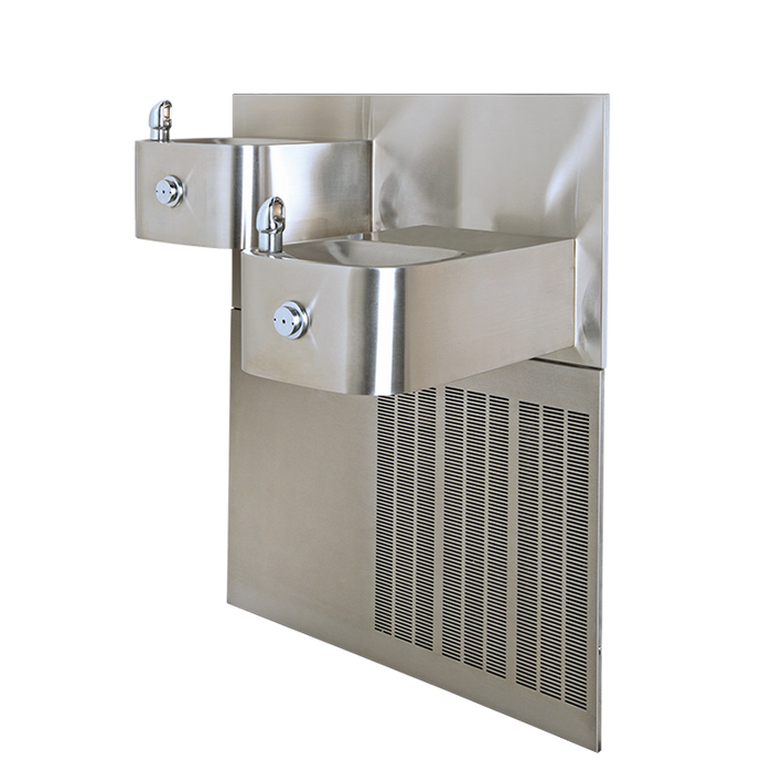 """Haws H1119.8, """"Hi-Lo"""" Barrier-Free, Dual, Satin Finish, Stainless Steel, Electric Water Coolers, Drinking Fountain, 8 GPH"""