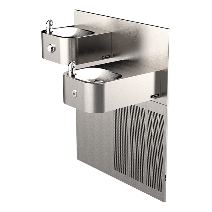 Haws H1119.8HO Touchless/Push Button Hi-Lo Electric Dual Drinking Fountain, Wall Mounted, ADA, 8 GPH, Stainless Steel with Satin Finish